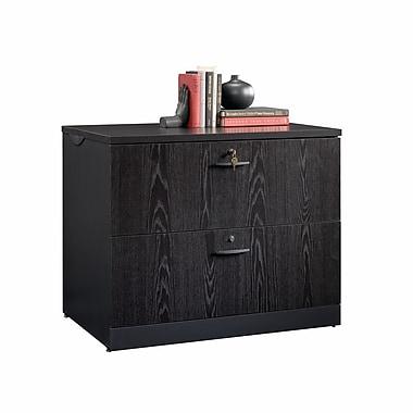 Sauder – Cabinet latéral Via, chêne bourbon/noir doux