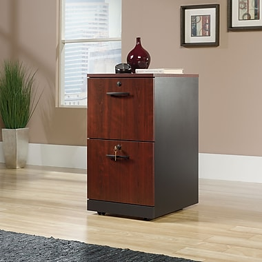Sauder Via Two Drawer Pedestal Classic, Cherry/Soft Black