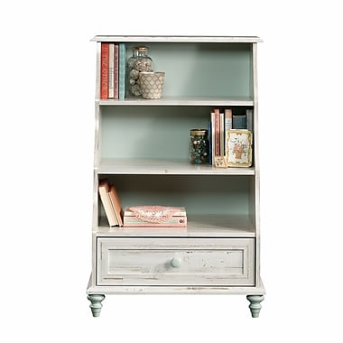 Sauder Eden Rue Accent Bookcase w/Drawer, White Plank
