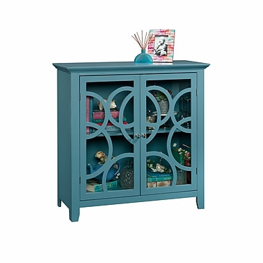 Sauder – Armoire vitrée Elise, collection Shoal Creek, bleu
