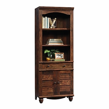 Sauder Harbor View Library with Doors, Curado Cherry