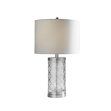Brassex 16414 24'' Metal Table Lamp, 14 x 14 x 24, Silver/White