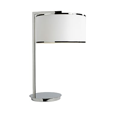 Brassex 16413 26'' Metal Table Lamp, 15 x 15 x 25.5, Silver/White