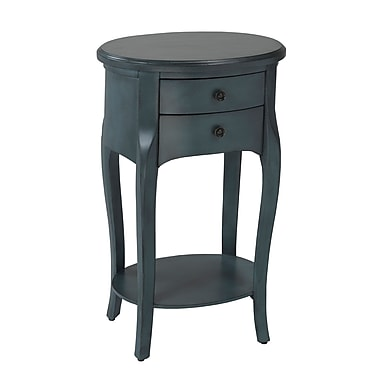 Brassex YM-500-BL Accent Table with 2 Storage Drawers, 18 x 14 x 30, Blue
