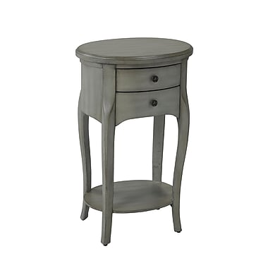 Brassex YM-500-GR Accent Table with 2 Storage Drawers, 18 x 14 x 30, Grey