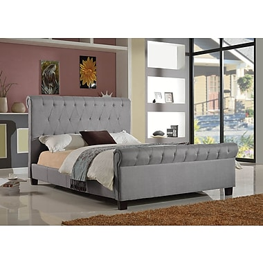 Brassex 1302Q-GR Queen Platform Bed, 63.5 x 88 x 63.5, Grey