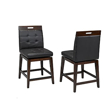 Brassex 1605-24 Iris 24' Swivel Bar Stool, Set of 2, 20 x 19 x41, Black