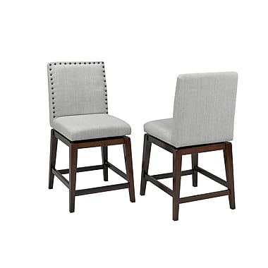 Brassex Ivy 24' Swivel Bar Stool, Set of 2, 20 x 19 x 41, Grey