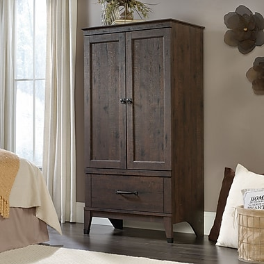 Sauder Carson Forge Armoire, Coffee Oak