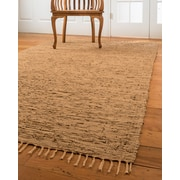 Natural Area Rugs Limassol Leather Hand-Woven Light Brown Area Rug; 6' x 9'