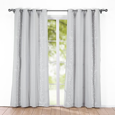 Puredown Decorative Embroidered Nature/Floral Semi-Sheer Grommet Curtain Panel (Set of 2); Gray