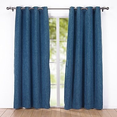 Puredown Solid Blackout Grommet Curtain Panel; Blue