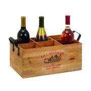 Cole & Grey Wood Metal 6 Bottle Tabletop Wine Bottle Rack