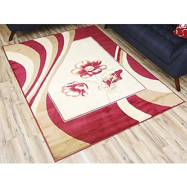 Beyan Passion Red/Cream Area Rug; 6'7'' x 9'6''