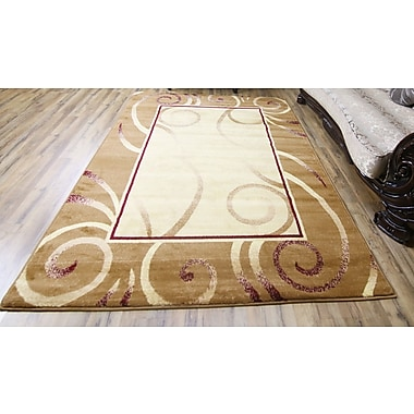Beyan Passion Gold/Cream Area Rug; 5'3'' x 7'3''
