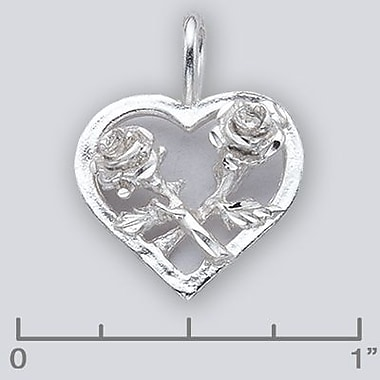 House of Jewellery Sterling Silver Diamond Cut Flower Heart Charm, Rose (JB579)