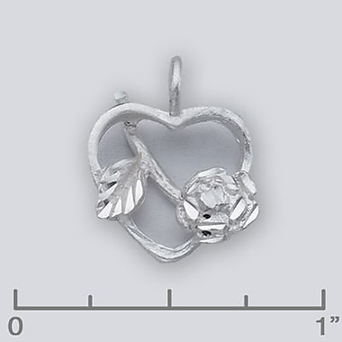 House of Jewellery Sterling Silver Diamond Cut Flower Heart Charm