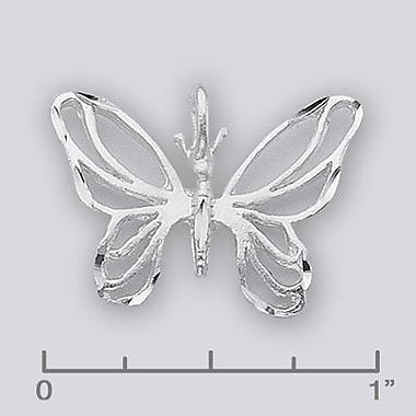 House of Jewellery Sterling Silver Diamond Cut Animal Charm, Butterfly (JB466)