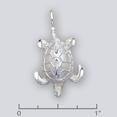 House of Jewellery – Breloque d'animal aquatique en argent sterling à taille de diamant, tortue (JB575)