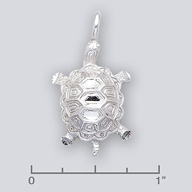 House of Jewellery – Breloque d'animal aquatique en argent sterling à taille de diamant, tortue (JB566)