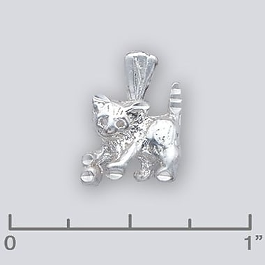 House of Jewellery Sterling Silver Diamond Cut Animal Charm, Cat (S1239)