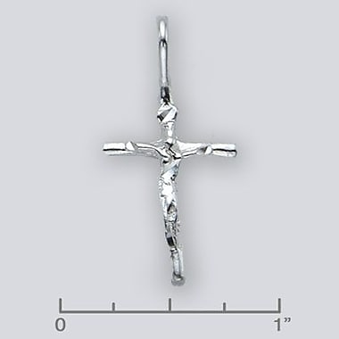 House of Jewellery Sterling Silver Diamond Cut Religious Charm, Cross (JB147)