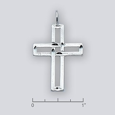 House of Jewellery Sterling Silver Diamond Cut Religious Charm, Cross (C1187)
