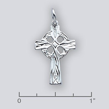 House of Jewellery Sterling Silver Diamond Cut Religious Charm, Cross (C1535P)