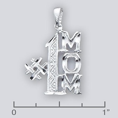 House of Jewellery – Breloque en argent sterling taillée au diamant avec écriture, #1 Mom (JB597)