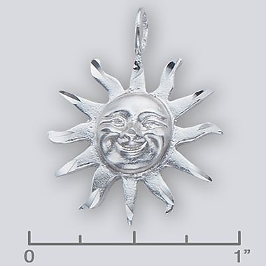 House of Jewellery Sterling Silver Diamond Cut Nautical Charm, Sun Face (JB336)