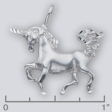 House of Jewellery Sterling Silver Diamond Cut Assorted Charm, Unicorn (JB103)