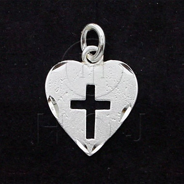 House of Jewellery Sterling Silver Diamond Cut Religious Charm, Heart Cross (C4755)