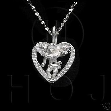 House of Jewellery Sterling Silver Diamond Cut Religious Charm, Heart Angel