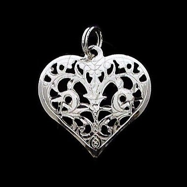House of Jewellery Sterling Silver Diamond Cut Heart Charm (C1269)