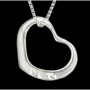House of Jewellery Sterling Silver Diamond Cut Heart Charm (JB245)