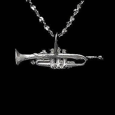 House of Jewellery Sterling Silver Diamond Cut Musical Charm, Trumpet