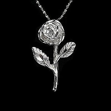 House of Jewellery – Breloque florale en argent sterling taillée au diamant, rose (JB492)