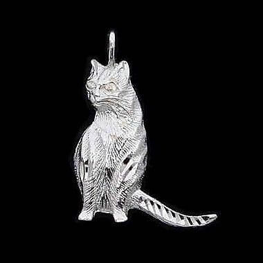 House of Jewellery – Breloque d'animal en argent sterling à taille de diamant, chat (C2965)