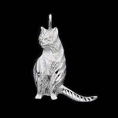 House of Jewellery – Breloque d'animal en argent sterling à taille de diamant, chat (C2965)
