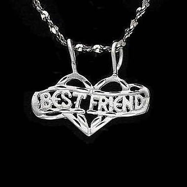House of Jewellery Sterling Silver Diamond Cut Heart Talking Charm, Best Friends (C4672)