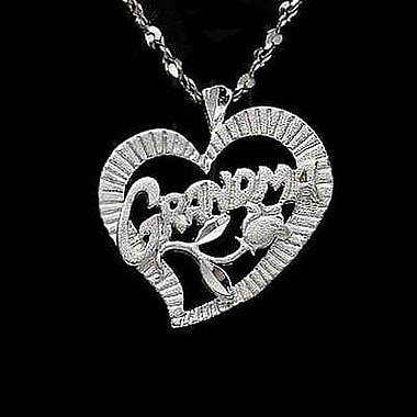 House of Jewellery Sterling Silver Diamond Cut Heart Talking Charm, Grandma