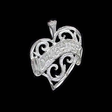 House of Jewellery Sterling Silver Diamond Cut Heart Talking Charm, Daughter