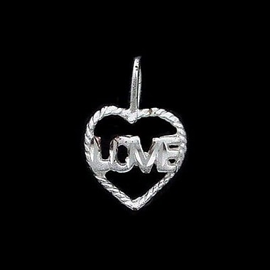 House of Jewellery Sterling Silver Diamond Cut Heart Talking Charm, Love