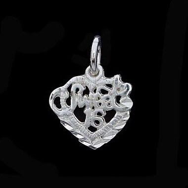 House of Jewellery – Breloque en argent sterling à taille de diamant avec écriture, Sweet 16 (S1936)