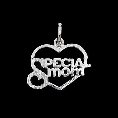 House of Jewellery Sterling Silver Diamond Cut Heart Talking Charm, Special Mom