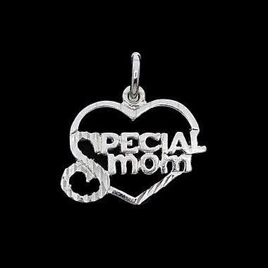 House of Jewellery – Breloque en argent sterling en cœur à taille de diamant avec écriture, Special Mom