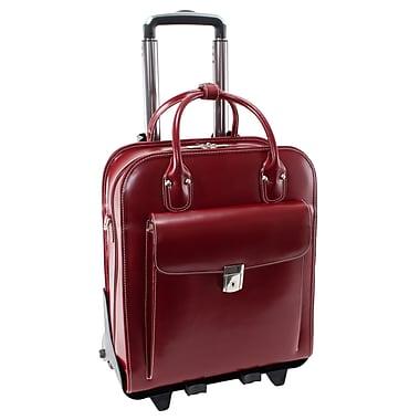McKlein – Mallette verticale LA GRANGE en cuir pour ordinateur portatif de 15,4 po, roulettes amovibles brevetées, femme, rouge