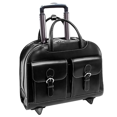McKlein – Mallette en cuir pour ordinateurs portatifs de 15,4 po à roulettes DAVIS, noir