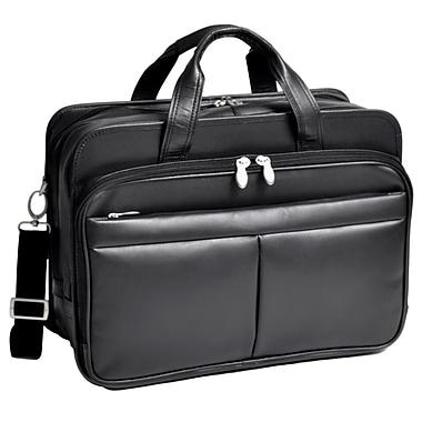 McKlein – Mallette WALTON extensible en cuir à double compartiment pour ordinateur portatif de 17 po avec housse amovible, noir