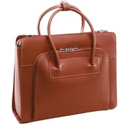 """McKlein LAKE FOREST 15.4"""" Leather Ladies' Laptop Briefcase w/ Removable Sleeve, Brown"""